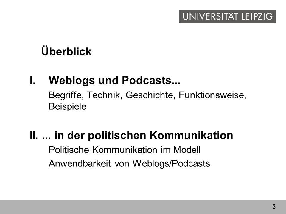 3 I.Weblogs und Podcasts... Begriffe, Technik, Geschichte, Funktionsweise, Beispiele II.... in der politischen Kommunikation Politische Kommunikation