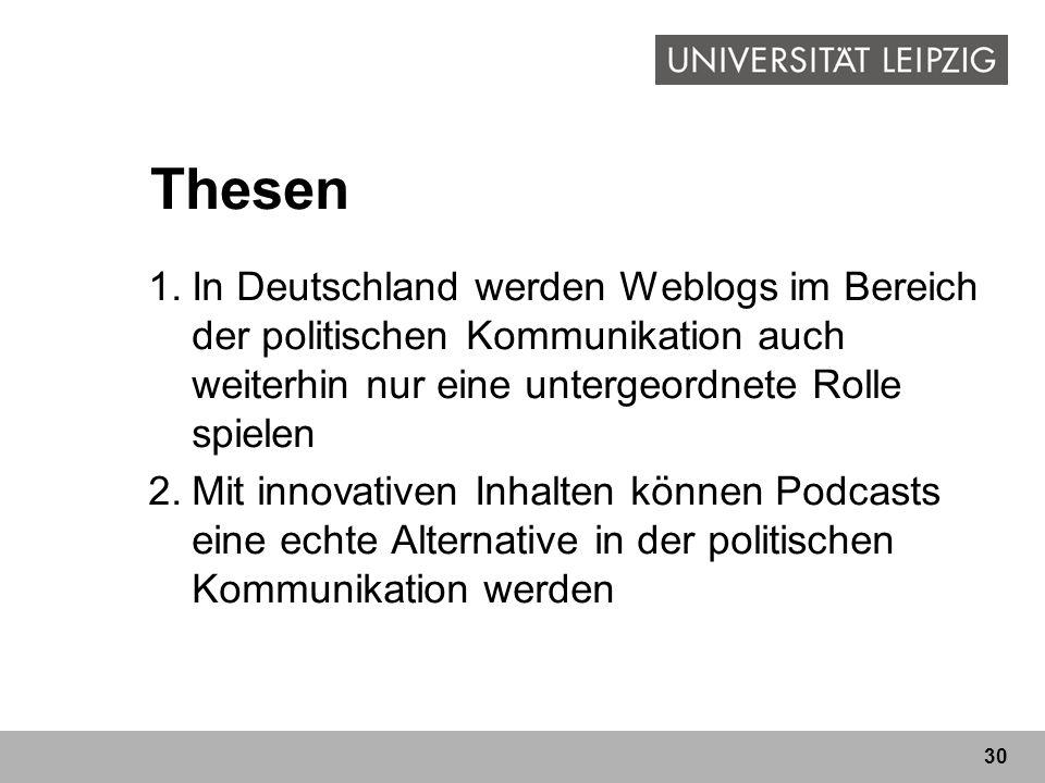 30 Thesen 1.In Deutschland werden Weblogs im Bereich der politischen Kommunikation auch weiterhin nur eine untergeordnete Rolle spielen 2.Mit innovati