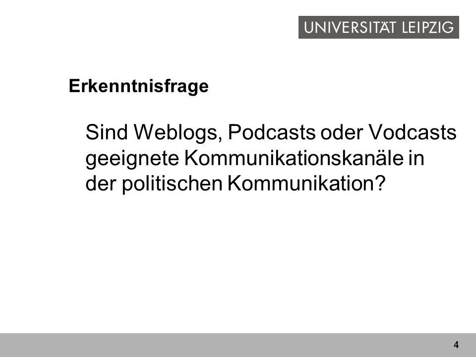 4 Erkenntnisfrage Sind Weblogs, Podcasts oder Vodcasts geeignete Kommunikationskanäle in der politischen Kommunikation?