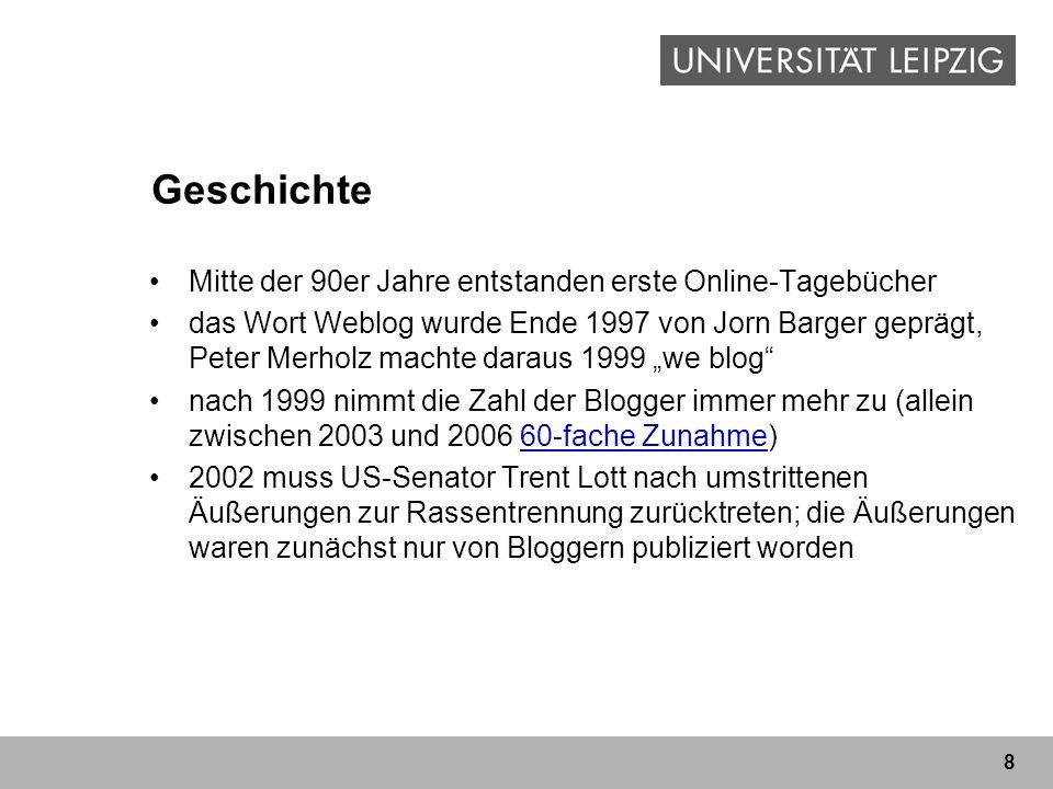 8 Geschichte Mitte der 90er Jahre entstanden erste Online-Tagebücher das Wort Weblog wurde Ende 1997 von Jorn Barger geprägt, Peter Merholz machte dar