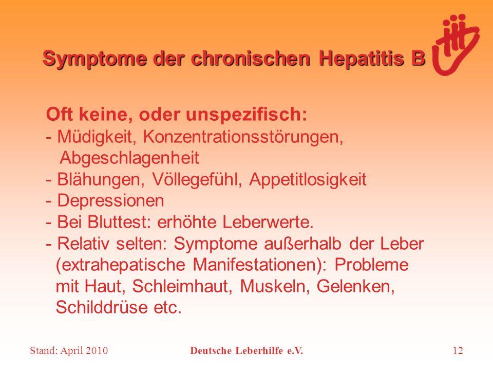Stand: April 2010Deutsche Leberhilfe e.V.12 Symptome der chronischen Hepatitis B Oft keine, oder unspezifisch: - Müdigkeit, Konzentrationsstörungen, A