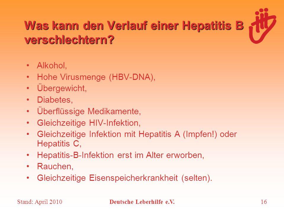 Stand: April 2010Deutsche Leberhilfe e.V.16 Was kann den Verlauf einer Hepatitis B verschlechtern? Alkohol, Hohe Virusmenge (HBV-DNA), Übergewicht, Di