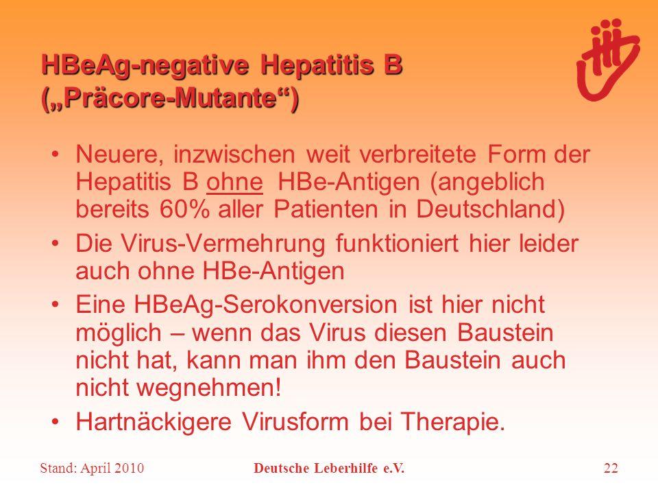 Stand: April 2010Deutsche Leberhilfe e.V.22 HBeAg-negative Hepatitis B (Präcore-Mutante) Neuere, inzwischen weit verbreitete Form der Hepatitis B ohne