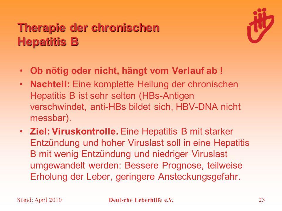 Stand: April 2010Deutsche Leberhilfe e.V.23 Therapie der chronischen Hepatitis B Ob nötig oder nicht, hängt vom Verlauf ab ! Nachteil: Eine komplette