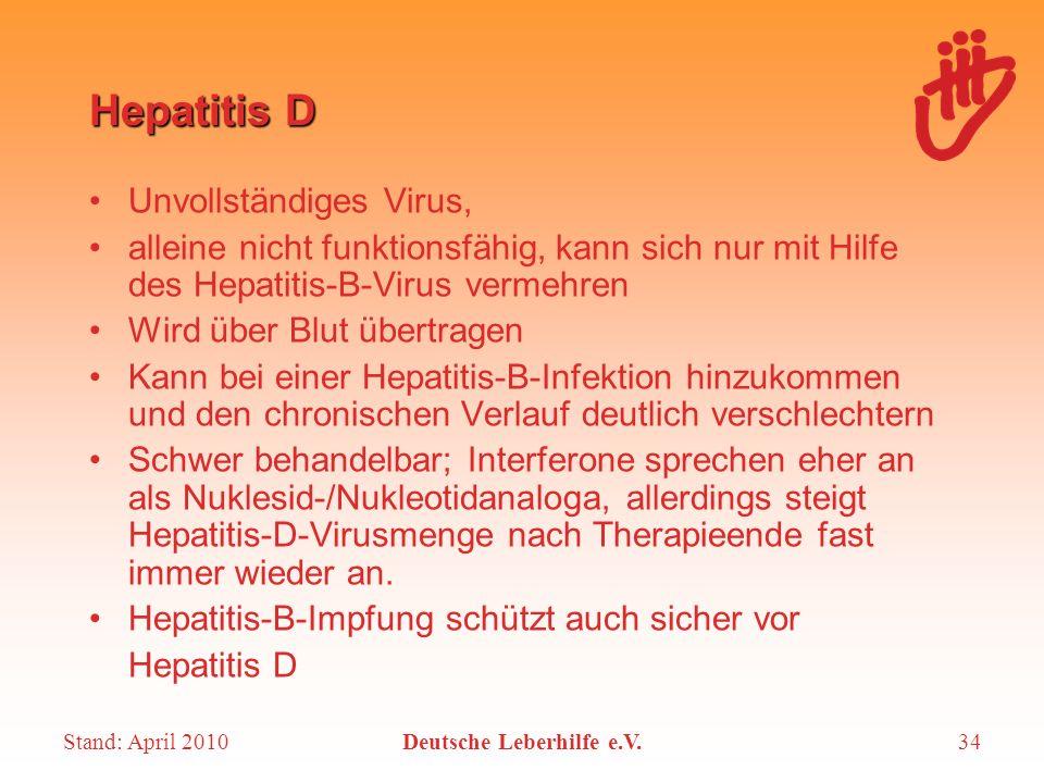 Stand: April 2010Deutsche Leberhilfe e.V.34 Unvollständiges Virus, alleine nicht funktionsfähig, kann sich nur mit Hilfe des Hepatitis-B-Virus vermehr
