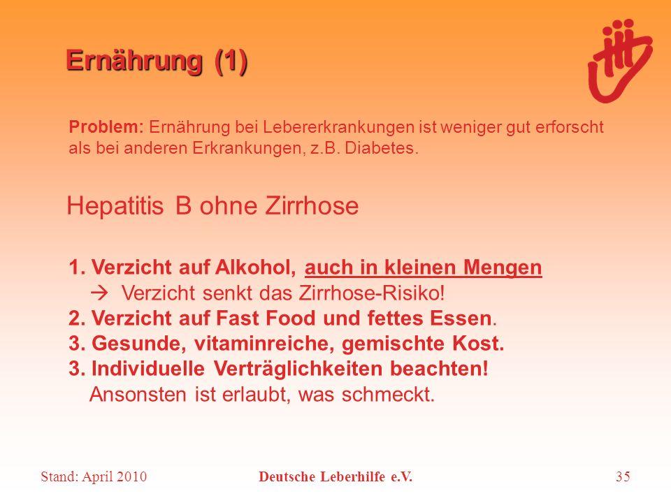Stand: April 2010Deutsche Leberhilfe e.V.35 Ernährung (1) Problem: Ernährung bei Lebererkrankungen ist weniger gut erforscht als bei anderen Erkrankun