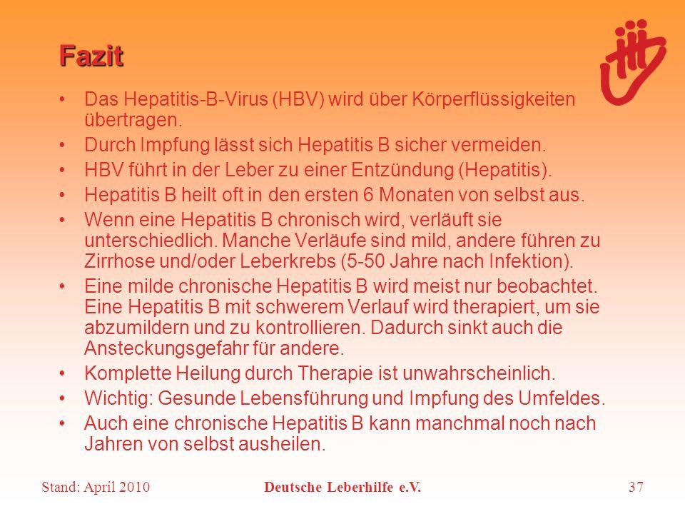 Stand: April 2010Deutsche Leberhilfe e.V.37 Fazit Das Hepatitis-B-Virus (HBV) wird über Körperflüssigkeiten übertragen. Durch Impfung lässt sich Hepat