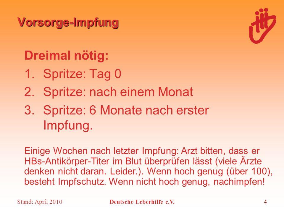Stand: April 2010Deutsche Leberhilfe e.V.4 Vorsorge-Impfung Dreimal nötig: 1.Spritze: Tag 0 2.Spritze: nach einem Monat 3.Spritze: 6 Monate nach erste