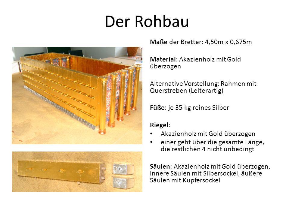 Der Rohbau Maße der Bretter: 4,50m x 0,675m Material: Akazienholz mit Gold überzogen Alternative Vorstellung: Rahmen mit Querstreben (Leiterartig) Füße: je 35 kg reines Silber Riegel: Akazienholz mit Gold überzogen einer geht über die gesamte Länge, die restlichen 4 nicht unbedingt Säulen: Akazienholz mit Gold überzogen, innere Säulen mit Silbersockel, äußere Säulen mit Kupfersockel