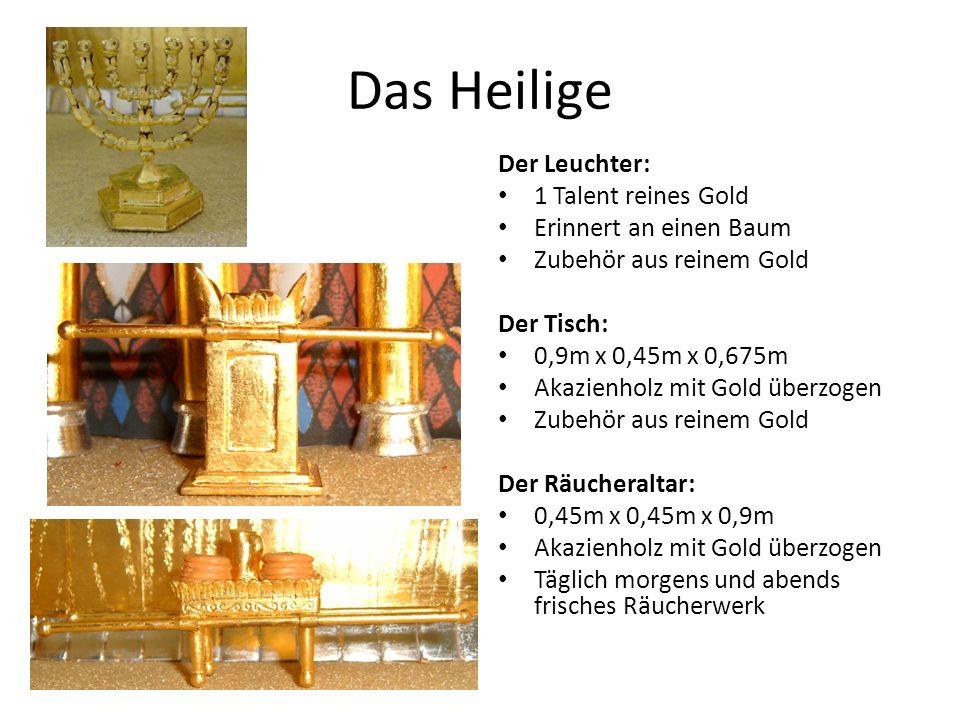 Das Heilige Der Leuchter: 1 Talent reines Gold Erinnert an einen Baum Zubehör aus reinem Gold Der Tisch: 0,9m x 0,45m x 0,675m Akazienholz mit Gold überzogen Zubehör aus reinem Gold Der Räucheraltar: 0,45m x 0,45m x 0,9m Akazienholz mit Gold überzogen Täglich morgens und abends frisches Räucherwerk