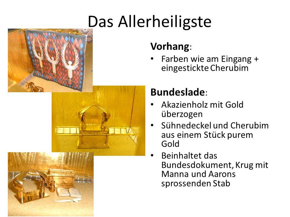 Das Allerheiligste Vorhang : Farben wie am Eingang + eingestickte Cherubim Bundeslade : Akazienholz mit Gold überzogen Sühnedeckel und Cherubim aus ei
