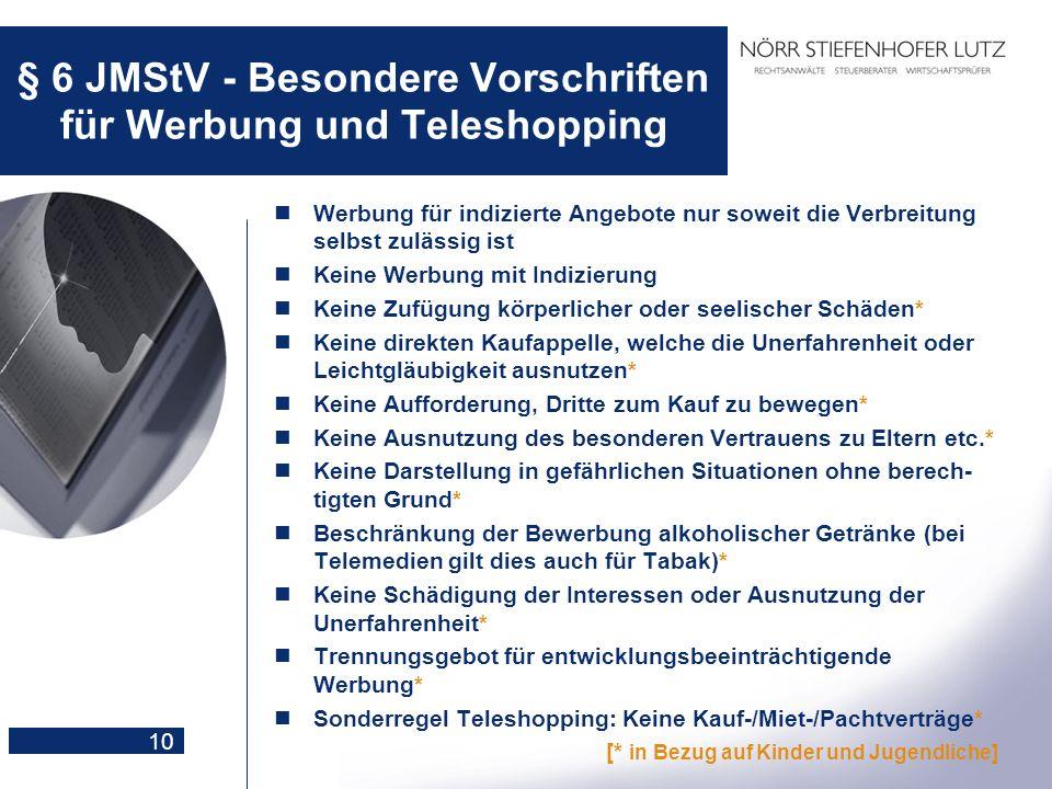 10 § 6 JMStV - Besondere Vorschriften für Werbung und Teleshopping Werbung für indizierte Angebote nur soweit die Verbreitung selbst zulässig ist Kein
