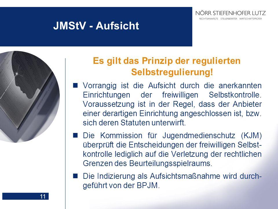 11 JMStV - Aufsicht Es gilt das Prinzip der regulierten Selbstregulierung! Vorrangig ist die Aufsicht durch die anerkannten Einrichtungen der freiwill
