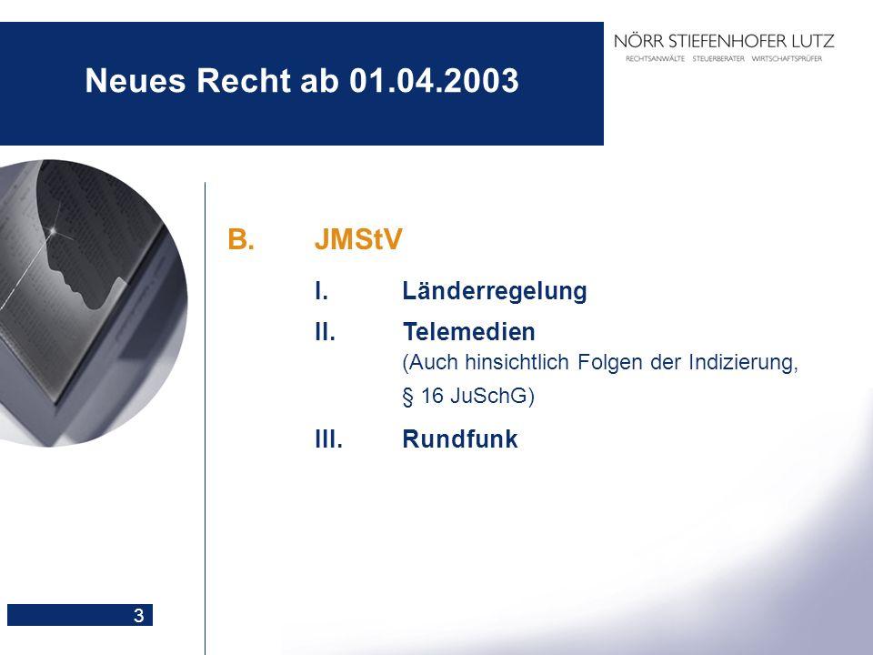 3 Neues Recht ab 01.04.2003 B.JMStV I.Länderregelung II.Telemedien (Auch hinsichtlich Folgen der Indizierung, § 16 JuSchG) III.Rundfunk