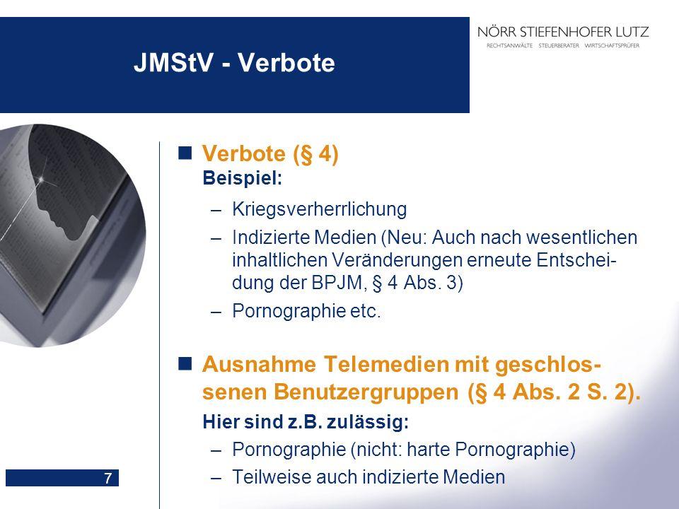 7 JMStV - Verbote Verbote (§ 4) Beispiel: –Kriegsverherrlichung –Indizierte Medien (Neu: Auch nach wesentlichen inhaltlichen Veränderungen erneute Ent