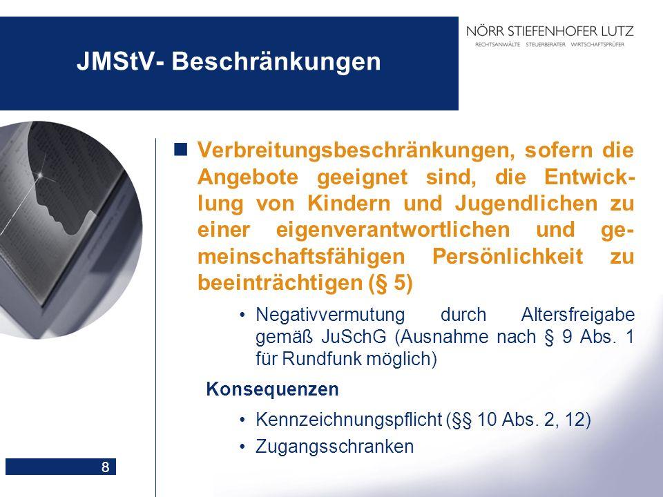 8 JMStV- Beschränkungen Verbreitungsbeschränkungen, sofern die Angebote geeignet sind, die Entwick- lung von Kindern und Jugendlichen zu einer eigenve
