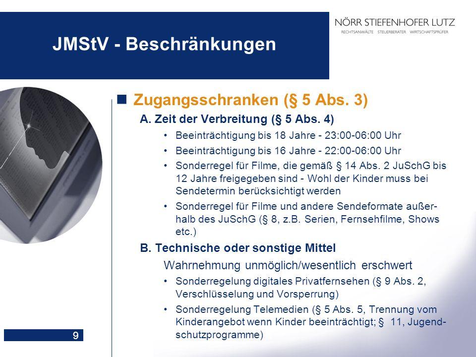 9 JMStV - Beschränkungen Zugangsschranken (§ 5 Abs. 3) A.Zeit der Verbreitung (§ 5 Abs. 4) Beeinträchtigung bis 18 Jahre - 23:00-06:00 Uhr Beeinträcht