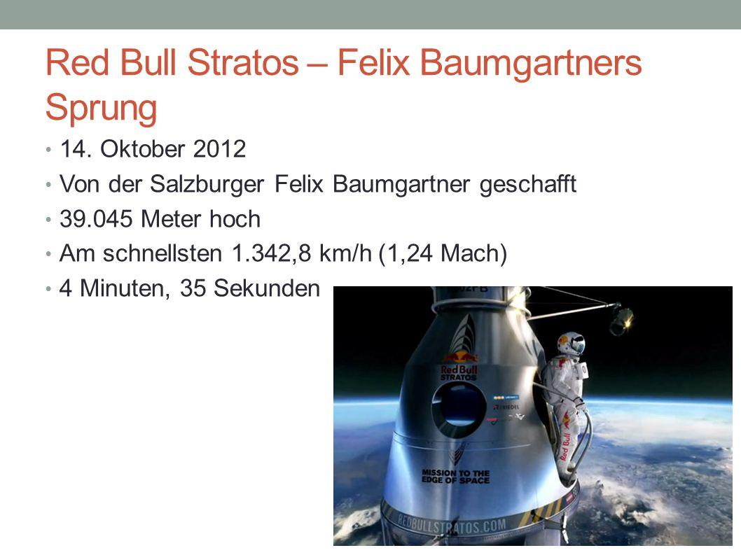 Red Bull Stratos – Felix Baumgartners Sprung 14. Oktober 2012 Von der Salzburger Felix Baumgartner geschafft 39.045 Meter hoch Am schnellsten 1.342,8