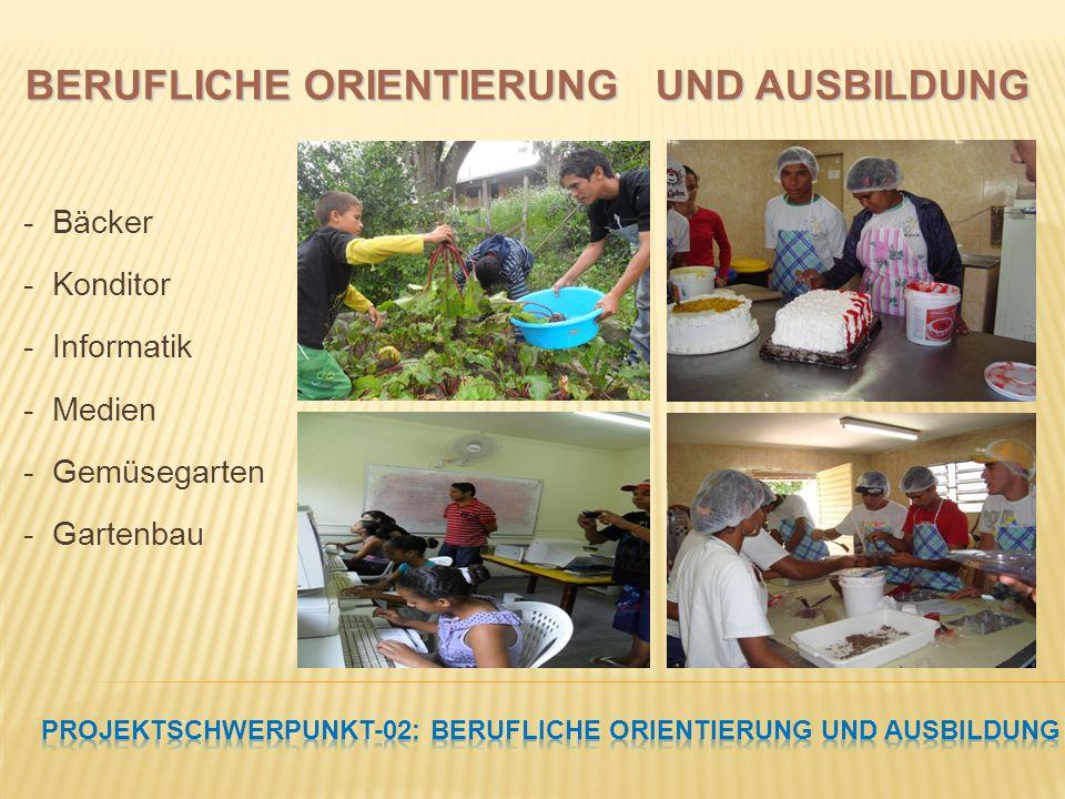 - Bäcker - Konditor - Informatik - Medien - Gemüsegarten - Gartenbau BERUFLICHE ORIENTIERUNG UND AUSBILDUNG