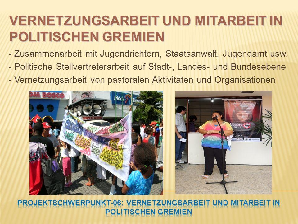 - Zusammenarbeit mit Jugendrichtern, Staatsanwalt, Jugendamt usw. - Politische Stellvertreterarbeit auf Stadt-, Landes- und Bundesebene - Vernetzungsa