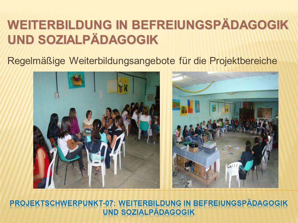 Regelmäßige Weiterbildungsangebote für die Projektbereiche WEITERBILDUNG IN BEFREIUNGSPÄDAGOGIK UND SOZIALPÄDAGOGIK