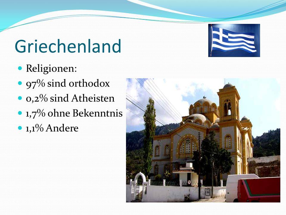 Griechenland Religionen: 97% sind orthodox 0,2% sind Atheisten 1,7% ohne Bekenntnis 1,1% Andere