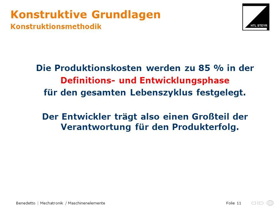 Folie 11Benedetto | Mechatronik / Maschinenelemente Konstruktive Grundlagen Konstruktionsmethodik Die Produktionskosten werden zu 85 % in der Definitions- und Entwicklungsphase für den gesamten Lebenszyklus festgelegt.