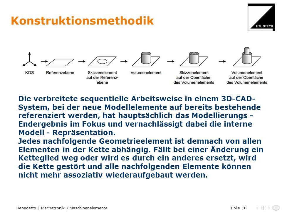 Folie 18Benedetto | Mechatronik / Maschinenelemente Konstruktionsmethodik Die verbreitete sequentielle Arbeitsweise in einem 3D-CAD- System, bei der neue Modellelemente auf bereits bestehende referenziert werden, hat hauptsächlich das Modellierungs - Endergebnis im Fokus und vernachlässigt dabei die interne Modell - Repräsentation.