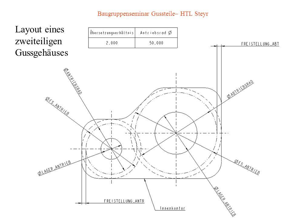 Baugruppenseminar Gussteile– HTL Steyr Layout eines zweiteiligen Gussgehäuses