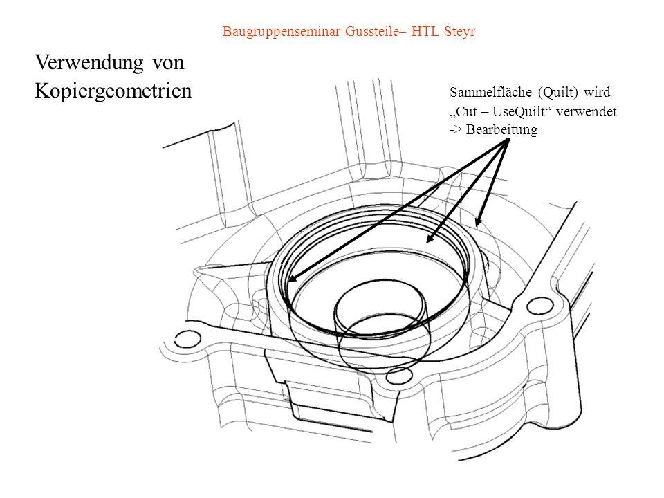 Baugruppenseminar Gussteile– HTL Steyr Verwendung von Kopiergeometrien Sammelfläche (Quilt) wird Cut – UseQuilt verwendet -> Bearbeitung