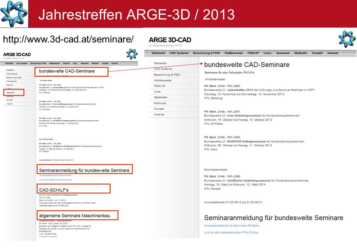 Jahrestreffen ARGE-3D / 2013 http://www.3d-cad.at/seminare/