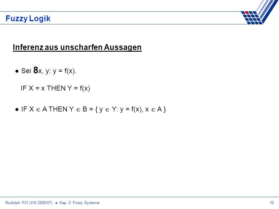 Rudolph: FCI (WS 2006/07) Kap. 2: Fuzzy Systeme10 Fuzzy Logik Inferenz aus unscharfen Aussagen Sei 8 x, y: y = f(x). IF X = x THEN Y = f(x) IF X A THE