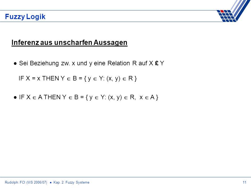 Rudolph: FCI (WS 2006/07) Kap. 2: Fuzzy Systeme11 Fuzzy Logik Inferenz aus unscharfen Aussagen Sei Beziehung zw. x und y eine Relation R auf X £ Y IF