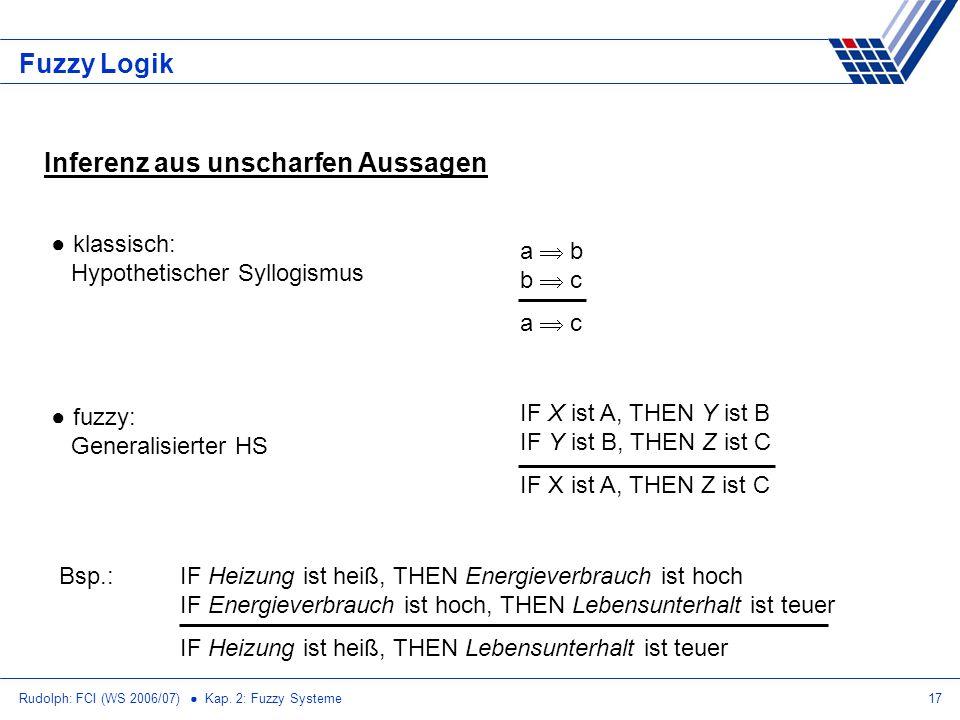 Rudolph: FCI (WS 2006/07) Kap. 2: Fuzzy Systeme17 Fuzzy Logik Inferenz aus unscharfen Aussagen klassisch: Hypothetischer Syllogismus fuzzy: Generalisi