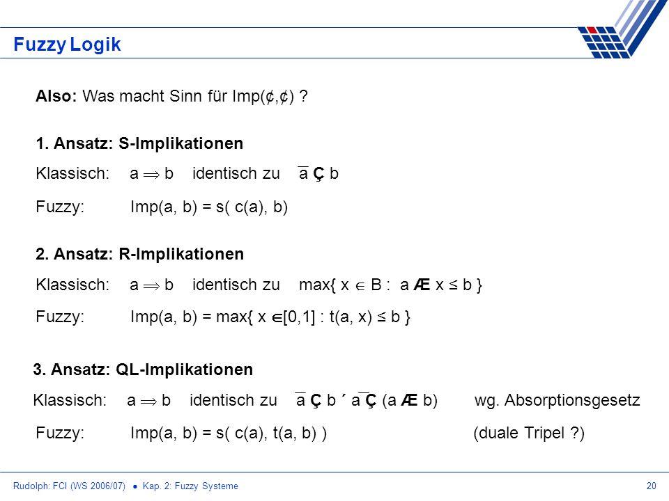 Rudolph: FCI (WS 2006/07) Kap. 2: Fuzzy Systeme20 Fuzzy Logik Also: Was macht Sinn für Imp(¢,¢) ? 1. Ansatz: S-Implikationen Klassisch: a b identisch