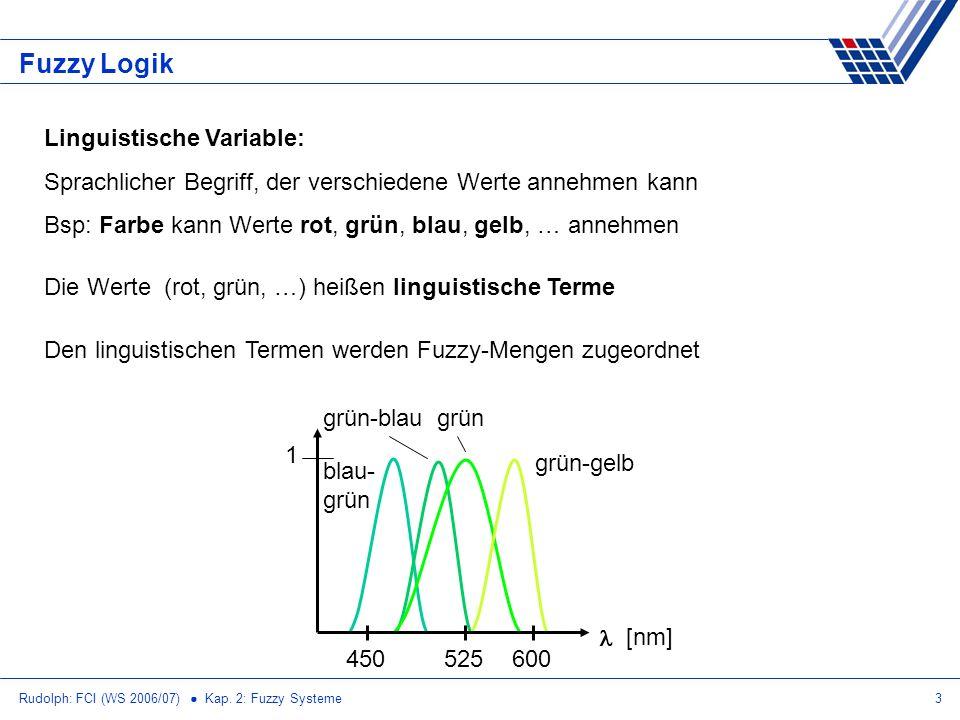 Rudolph: FCI (WS 2006/07) Kap. 2: Fuzzy Systeme3 Fuzzy Logik Linguistische Variable: Sprachlicher Begriff, der verschiedene Werte annehmen kann Bsp: F