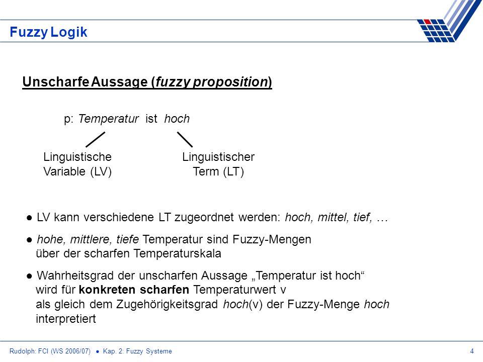 Rudolph: FCI (WS 2006/07) Kap. 2: Fuzzy Systeme4 Fuzzy Logik Unscharfe Aussage (fuzzy proposition) p: Temperatur ist hoch Linguistische Variable (LV)
