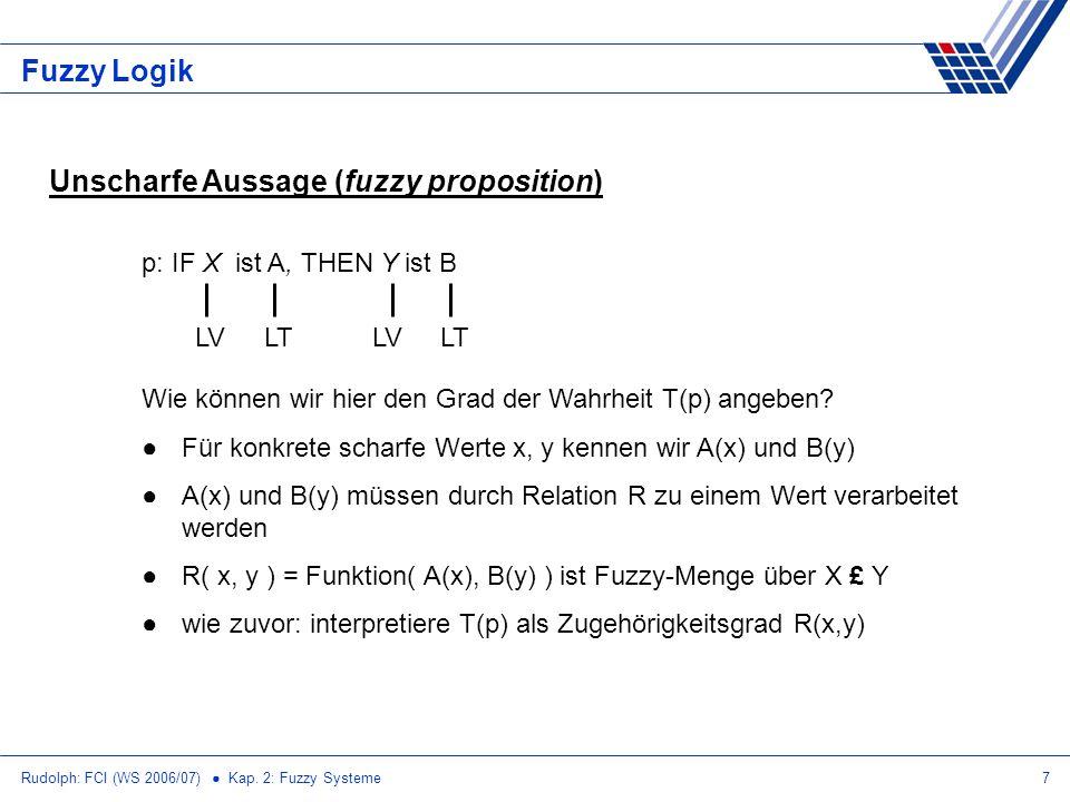 Rudolph: FCI (WS 2006/07) Kap. 2: Fuzzy Systeme7 Fuzzy Logik Unscharfe Aussage (fuzzy proposition) p: IF X ist A, THEN Y ist B Wie können wir hier den