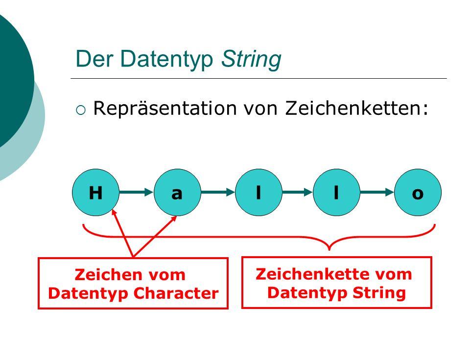 Der Datentyp String Stringkonstanten: Eine Stringkonstante wird in Hochkommata gesetzt.