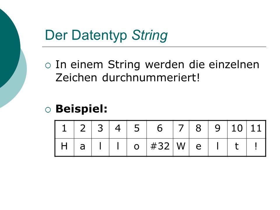 Der Datentyp String Zugriff auf einzelne Zeichen des Strings über den Index möglich.