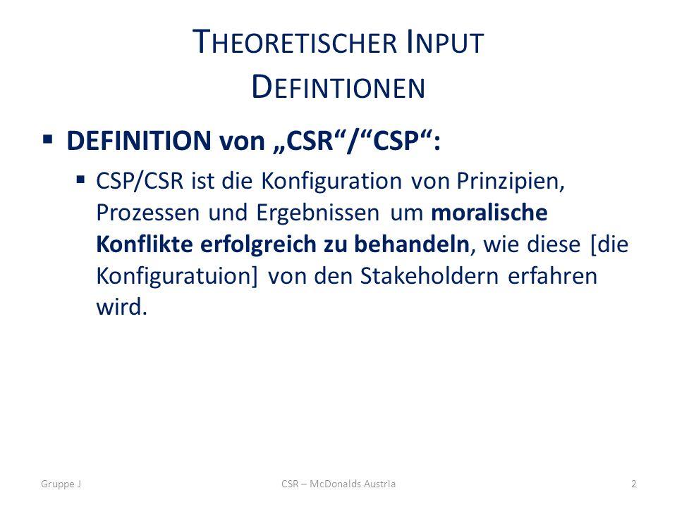 T HEORETISCHER I NPUT D EFINTIONEN DEFINITION von CSR/CSP: CSP/CSR ist die Konfiguration von Prinzipien, Prozessen und Ergebnissen um moralische Konflikte erfolgreich zu behandeln, wie diese [die Konfiguratuion] von den Stakeholdern erfahren wird.