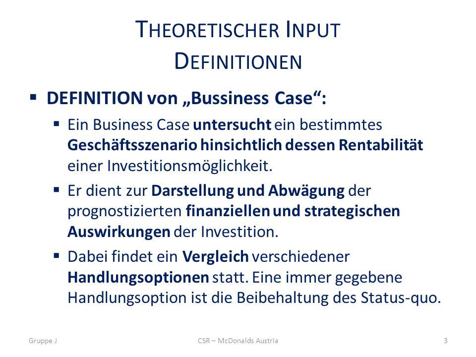 T HEORETISCHER I NPUT D EFINITIONEN DEFINITION von Bussiness Case: Ein Business Case untersucht ein bestimmtes Geschäftsszenario hinsichtlich dessen R
