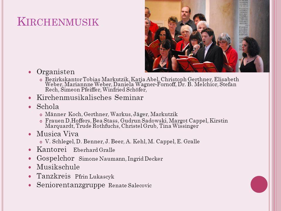 K IRCHENMUSIK Organisten Bezirkskantor Tobias Markutzik, Katja Abel, Christoph Gerthner, Elisabeth Weber, Mariannne Weber, Daniela Wagner-Fornoff, Dr.