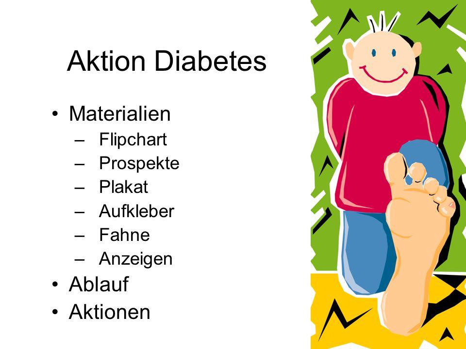 Aktion Diabetes Materialien –Flipchart –Prospekte –Plakat –Aufkleber –Fahne –Anzeigen Ablauf Aktionen