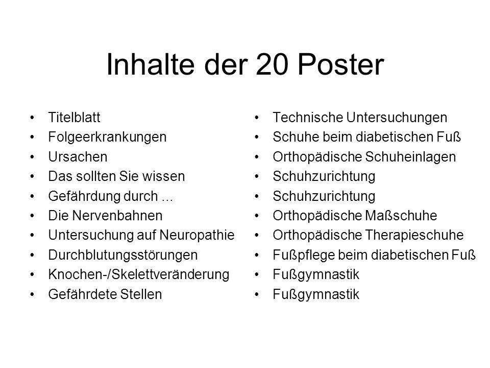 Inhalte der 20 Poster Titelblatt Folgeerkrankungen Ursachen Das sollten Sie wissen Gefährdung durch...
