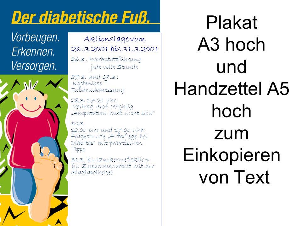 Plakat A3 hoch und Handzettel A5 hoch zum Einkopieren von Text Aktionstage vom 26.3.2001 bis 31.3.2001 26.3.: Werkstattführung jede volle Stunde 27.3.