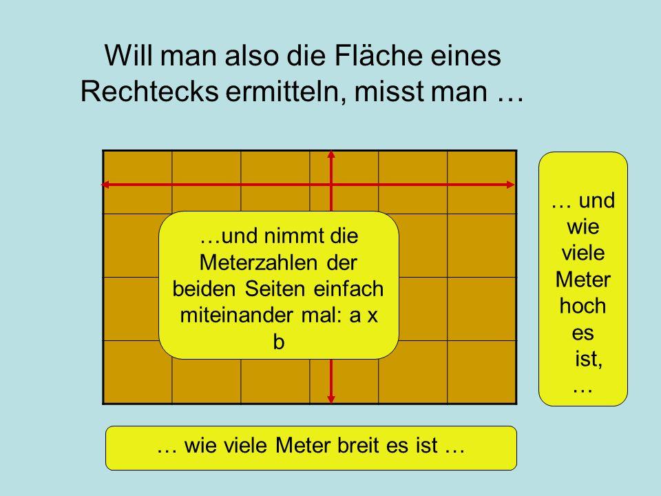 Will man also die Fläche eines Rechtecks ermitteln, misst man … … wie viele Meter breit es ist … … und wie viele Meter hoch es ist, … …und nimmt die Meterzahlen der beiden Seiten einfach miteinander mal: a x b