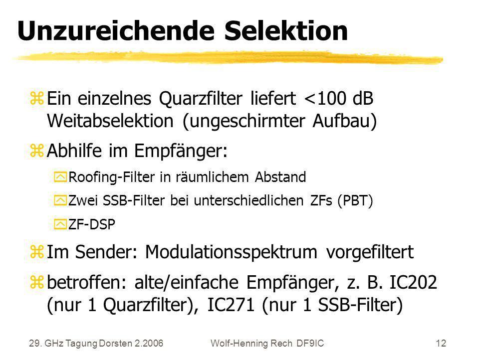29. GHz Tagung Dorsten 2.2006Wolf-Henning Rech DF9IC12 Unzureichende Selektion zEin einzelnes Quarzfilter liefert <100 dB Weitabselektion (ungeschirmt