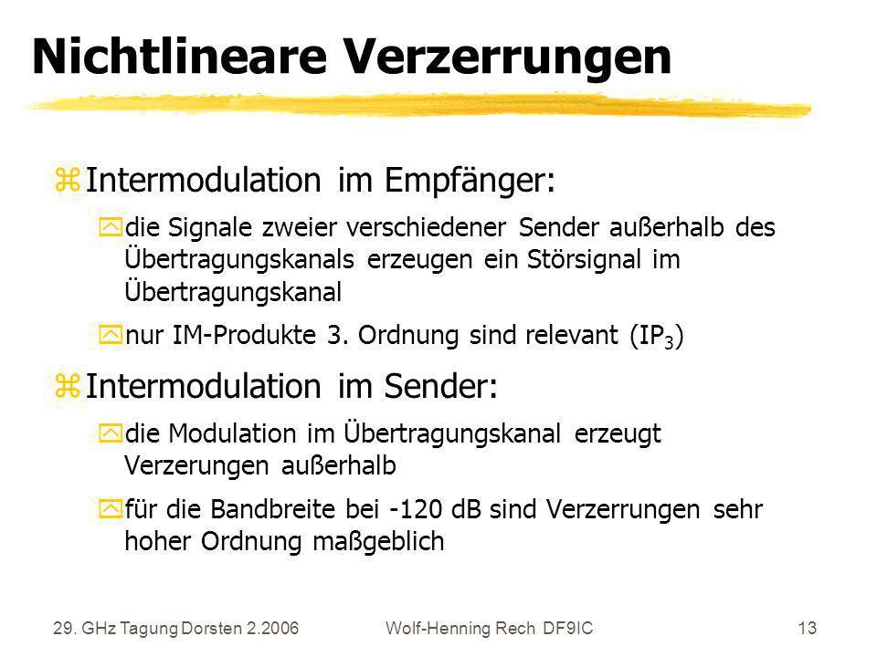 29. GHz Tagung Dorsten 2.2006Wolf-Henning Rech DF9IC13 Nichtlineare Verzerrungen zIntermodulation im Empfänger: ydie Signale zweier verschiedener Send