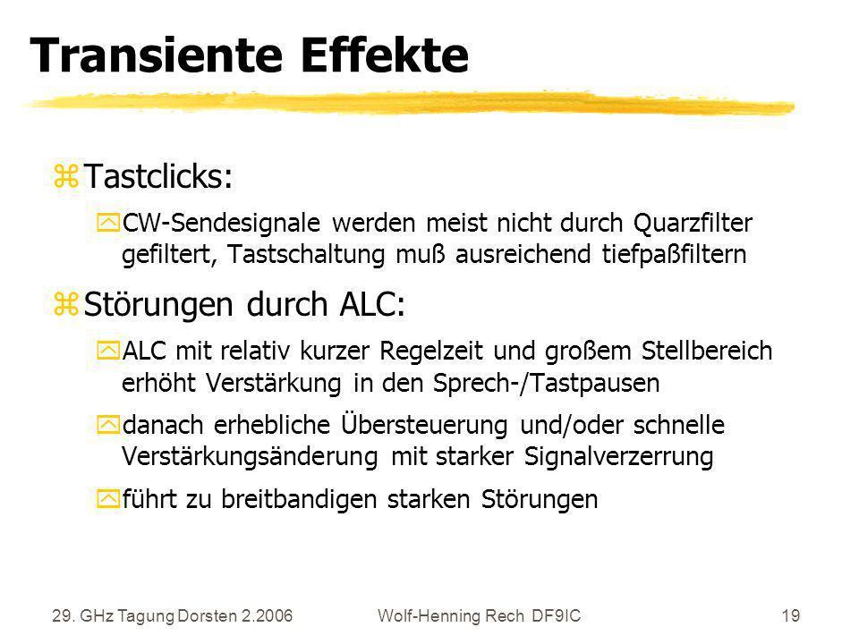 29. GHz Tagung Dorsten 2.2006Wolf-Henning Rech DF9IC19 Transiente Effekte zTastclicks: yCW-Sendesignale werden meist nicht durch Quarzfilter gefiltert